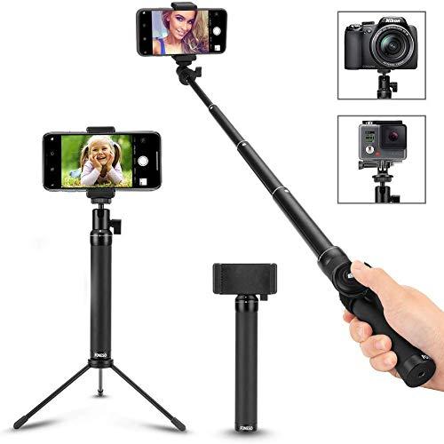 Foneso Selfie Stick Con Bluetooth Wireless Remote Shutter per Smartphone e Gopro macchina fotografica Nero (Treppiede Non Incluso)