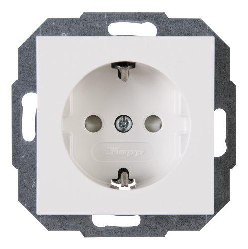 Kopp 940029084 Athenis Schutzkontakt-Steckdose, 250 V, 1-fach mit Berührungsschutz, rein-weiß