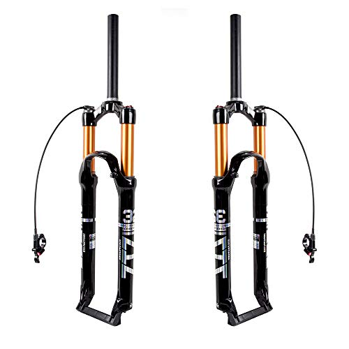 Bolany Mountain Bike Front Fork2627529 inch Air Mountain Bike Suspension Fork Suspension MTB Gas Fork 100mm Travel StraightTapered Tube Bicycle Front Fork 275 Straight Remote