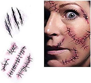 DNHCLL 10 Sheetss Scar Tattoos Temporary - Zombie Party Supplies Cosplay Props, Horror Realistic Fake Bloody Wound Stitch Scar Scab Waterproof Temporary Tattoo Sticker Halloween Masquerade Prank Makeup Props