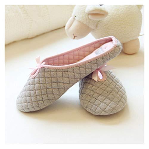 YYSH Encantador Bowtie Winter Women Slippers para habitación Interior Dormitorio Casa Suave Bottom Algodón Zapatos Cálidos Adultos Pisos 0103 (Color : Gray, Shoe Size : 40)