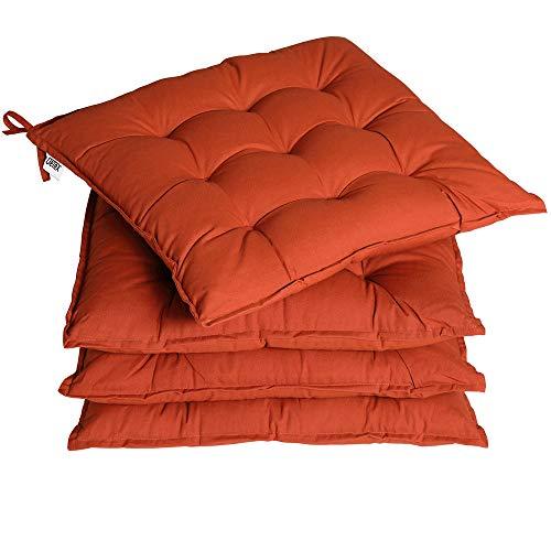 Detex 4er Set Stuhlkissen 41x41x5cm Bänder Viskoeffekt Indoor Outdoor Stuhlauflage Kissen Sitzkissen Auflage Polster Terracotta