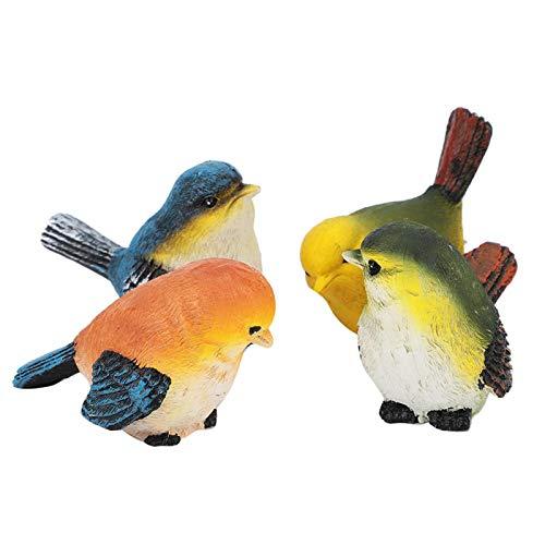 Haofy Figuras de decoración de pájaros de Resina, Adornos de pájaros, Estatua de pájaros al Aire Libre de 4 Piezas para jardín, césped, decoración de casa de muñecas