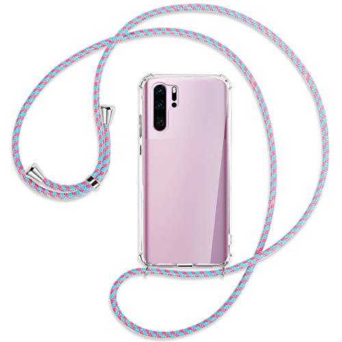 mtb more energy Collar Smartphone para Huawei P30 Pro, P30 Pro New Edition (6.47'') - Rosa + Menta - Funda Protectora ponible - Carcasa Anti Shock con Cuerda