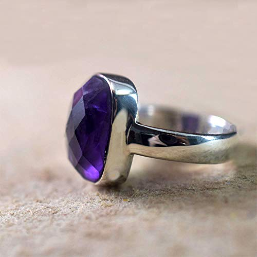 Amethyst Silver Men Ring, Solid 925K Sterling Silver, Checker Cushion, Natural, Handmade Jewelry, Celtic Ring, Men's Amethyst Ring, Gift For Him, Anniversary Gift, Good Friday Gift, Size 4-13
