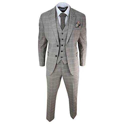 Mens Brown Tweed Check 3 Piece Suit Vintage Classic Blinders 1920s Fit