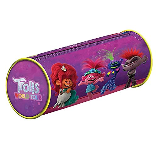 Genuine Trolls World Tour Rhythm & Rainbows PVC Pencil Case Tube Zipped Stationery