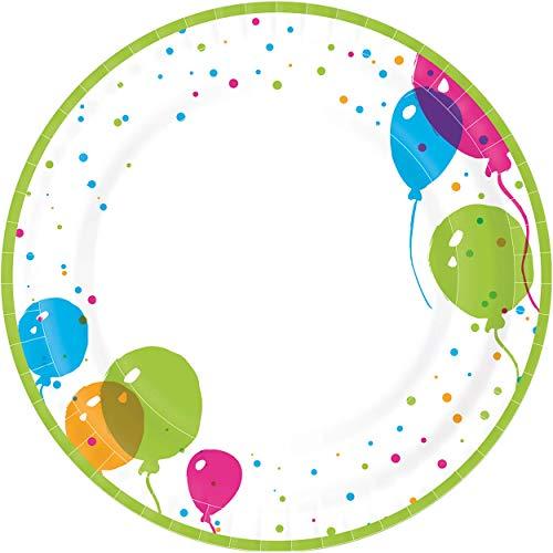 Paper+Design 192233 - Pappteller Splash Balloons, Durchmesser 22 cm, 10 Stück, beschichtet, Luftballons, Einwegteller, Papierteller, Partygeschirr, Geburtstag, Gartenparty, Servierteller
