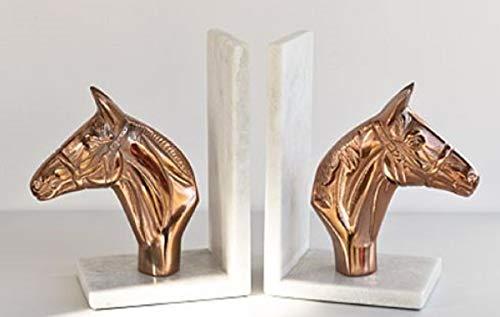 Casa Padrino Conjunto de sujetalibro Cabezas de Caballo Oro Rosa/Blanco 26 x 11 x H. 21 cm - Accesorios