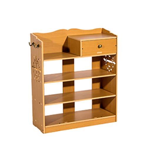 Shoe rack Salón de madera maciza de varios pisos con cajones para almacenamiento en el hogar (color: A, tamaño: cinco rejillas)