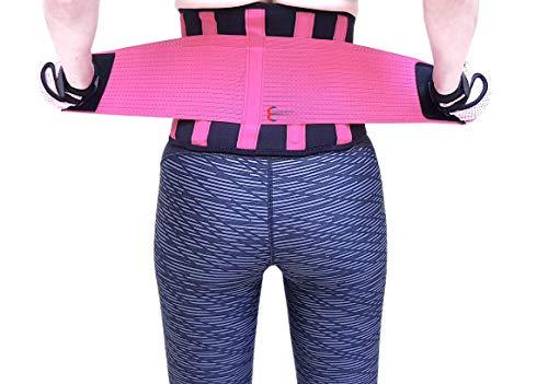 Fajas Mujer para Gym Cinturón para Entrenar Moldeadoras de Cintura Faja Sudoración Respirable con Dos Ajustes de Velcro (Negro con Rosa, Mediano)