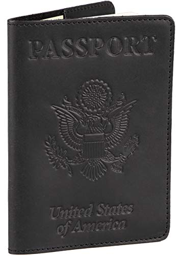 Shvigel Leather Passport Cover - Holder - for Men & Women - Passport Case (Black Vintage)