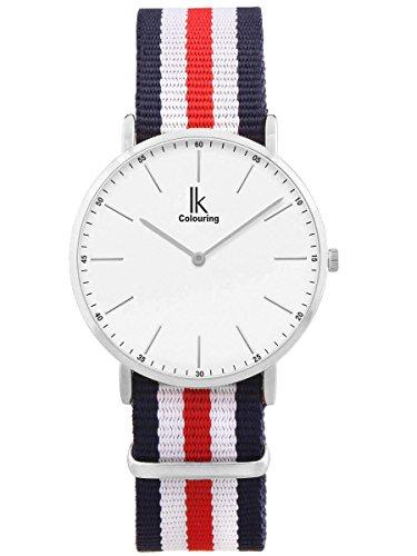 Alienwork Herren Damen Armbanduhr Quarz Silber mit NATO-Armband blau Ultra-flach Slim-Uhr
