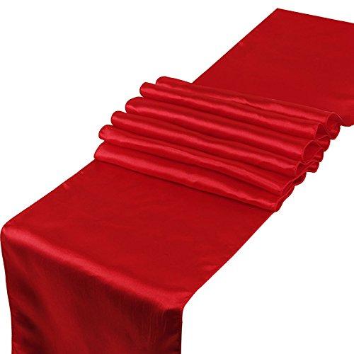 CCSimple Chemin de Table en Satin pour Mariage Festival Fête Décorations 30 x 275CM (Rouge)