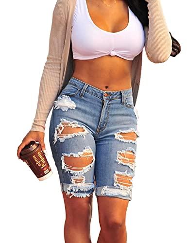 Haola Womens Ripped Distressed Hole Short Jeans Midi Stretchy Juniors Midi Pants S Blue