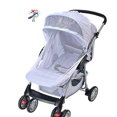 CCUCKY Mosquitera para Cochecito,150CM/59'' Estiramientos Elásticos Se adapta a la mayoría de los Cochecitos,Proteja a su Bebé de los Mosquitos o Insectos,Protege a tu Bebé de Forma Natural-Blanco
