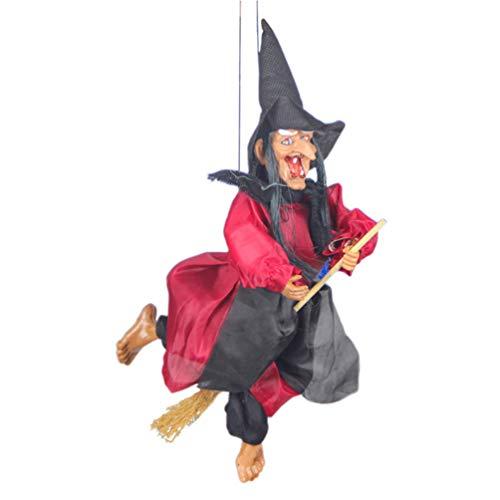 Toyvian Halloween-Hexe zum Aufhängen, Stimmenaktivierung, Induktion, Hängedekoration, ohne Batterie (zufällige Farbe)