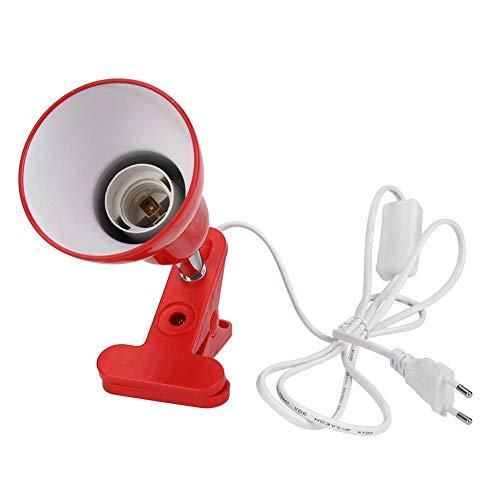 Starnearby - Portalámparas E27 con pinza, interruptor y cable, apto para pinza de cerámica, luz nocturna, bombilla halógena (rojo)