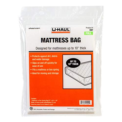 "U-Haul Standard Full Mattress Bag – Moving & Storage Cover for Mattress or Box Spring – 87"" x 54"" x 10"""