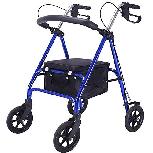 MIEMIE Andador Vertical Plegable, Andador con Ruedas, Carrito de Compras para Ancianos, Carro, se Puede sentar sobre Cuatro Ruedas, Andador Plegable para Ancianos Ligero