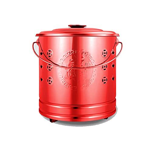 ZHHL Stainless Steel Burn Barrel Garden Incinerator,fire Barrel Burning,Cage Pit Metal Yard Debris Box,trash Incinerator Red-36.5×38cm