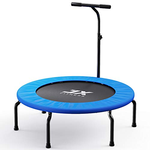 JX FITNESS Folding Indoor Trampoline with Handle 40 inch Home Gym Elastic Rope Silent Safety Jumper Bounce Cardio Workout Garden Outdoor Exercise Trampoline, 3 height adjustable, fun for Adutls Kids