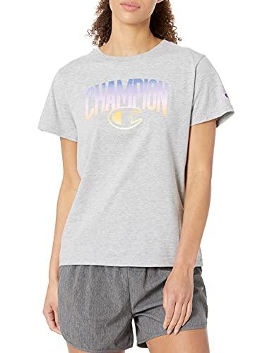 Champion Classic Graphic tee Camiseta, Oxford Gray-586415, M para Mujer
