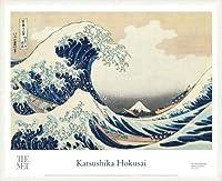 ポスター ホクサイ The Great Wave 富嶽三十六景・神奈川沖波裏 額装品 ウッドベーシックフレーム(ホワイト)