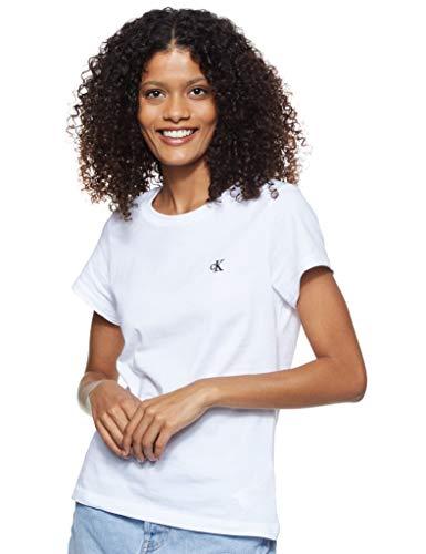Calvin Klein Jeans Damen Ck Embroidery Slim Tee Hemd, White, L