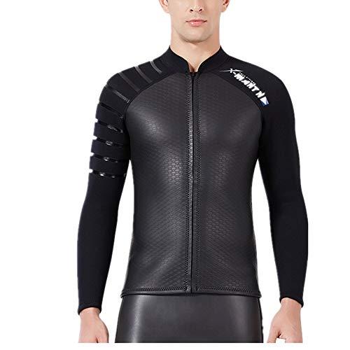 EXCLVEA Herren Neoprenanzug Herren Neopren-Neoprenjacke, 3 mm, mit Brustreißverschluss, schwarz Praktisch zum Anziehen zum Tauchen Schwimmen (Size : M)