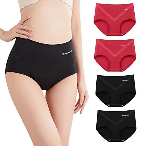 catch-L Damen Unterwäsche, Baumwolle Hohe Taille Unterhosen Girls Cotton Slips Höschen 4 Pack(Size:Einheitsgröße,Color:E8442)