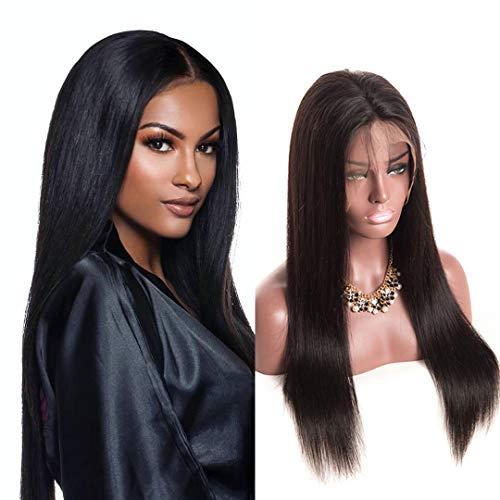 Volvetwig Human Hair Wig 360 Fronthaar Perücke 360 Lace Frontal Wig Free Part mit Baby Hair Glatt Brasilianische Echthaar Perücke Pre Plucked Natural Hairline Schwarz 12 zoll/ 30 cm