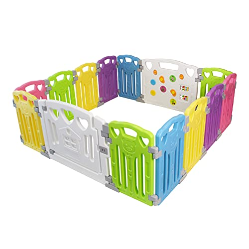 2019 Updated New Version Exqline Pop-n-Play Kids Safety Playpen Baby Playpen Traveling Park or Beach Orange Foldable and Compact Best Kids Play Pen with UV Canopy Ideal for at Home