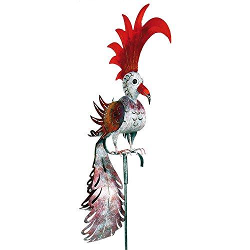 Wetterfester Metall-Gartenstecker Vogel ''Phönix'' von Medusa | im Wind drehend | weiss-rot | Größe 168x19x56 cm | mit Flügelklappe für Teelicht oder Lichterkette