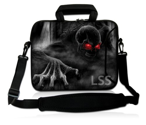 LSS 17-17.3' Laptop Sleeve Bag Compatible with Acer, Asus, Dell, HP, Sony, MacBook and More | Carrying Case Pouch w/Handle & Adjustable Shoulder Strap,Zombie Skull