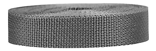 Strapworks Lightweight Polypropylene Webbing - Poly Strapping for Outdoor DIY Gear Repair, Pet Collars, Crafts - 1 Inch x 25 Yards - Charcoal