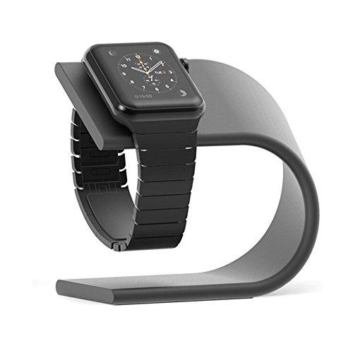 AppleWatch スタンド 充電ケーブル収納 アップルウォッチスタンド アルミニウム製スタンド 黒 (ダーク グレ...