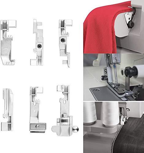 xingletu 6 piezas Singer Serger Foot Overlock Prensatelas para Singer 14CG754 14SH654 14U555 14U557 Consew 14TU 14hd854 14sh754 Juki Overlock Machine