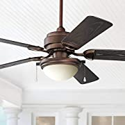 """52"""" Marina Breeze Rustic Farmhouse Country Indoor Outdoor Ceiling Fan with Light LED Vintage Oil Brushed Bronze Brown Wet Rated for Patio Exterior House Porch Gazebo Garage Barn - Casa Vieja"""