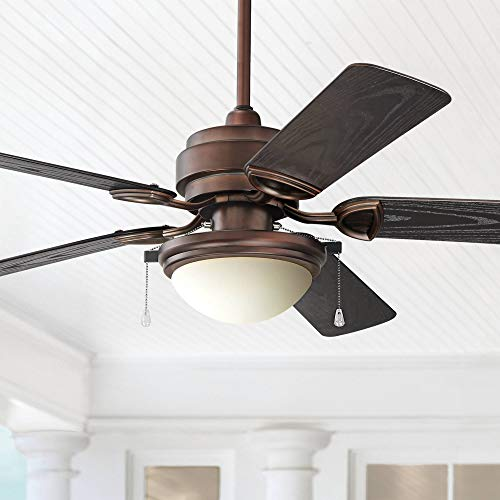 """52"""" Marina Breeze Rustic Farmhouse Country Outdoor Ceiling Fan with Light LED Vintage Oil Brushed Bronze Brown Wet Rated for Patio Exterior House Porch Gazebo Garage Barn - Casa Vieja"""