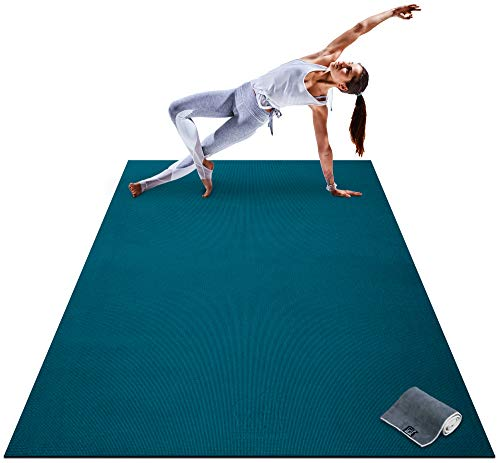 """Premium Large Yoga Mat - 7' x 5' x 8mm Extra Thick, Ultra Comfortable, Non-Toxic, Non-Slip, Barefoot Exercise Mat - Yoga, Stretching, Cardio Workout Mats for Home Gym Flooring (84"""" Long x 60"""" Wide)"""