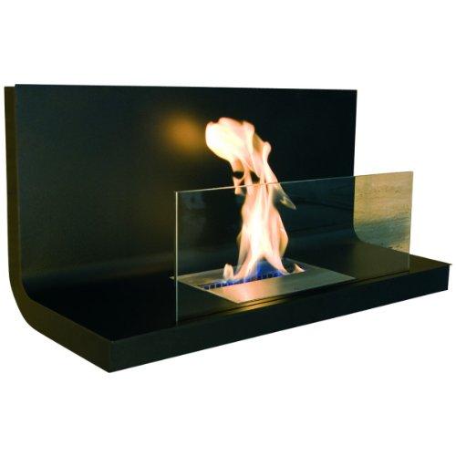 Wall Flame 1 caminetto fuoco/parete camino moderno transparent, schwarz/Edelstahl schwarz