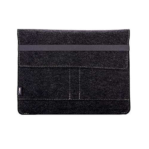 Kontor28 - Funda para iPad de 13 pulgadas: MacBook Pro, Air, iPad Pro, con cierre – de fieltro 100% natural Oeko Tex Standard 100. Hecho a mano en Baviera, color gris antracita