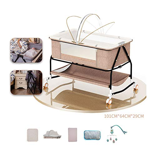 ZMXZMQ Stationary & Rock Mode Bassinet, Bedside Sleeper Easy Folding Portable Crib, with Mosquito Net, Mattress and Dedicated Headrest,Brown+bedsidebell
