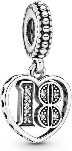 16,18,21,30,50 LaMenars Nombre significatif de breloques pour bracelets Pandora Pendentifs en argent 925 Fit Collier Dangle Charm Cadeau pour anniversaire danniversaire (NO.18)