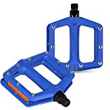 DRBIKE Platform Bike Pedals - Nylon Wide Bicycle Pedals With Replaceable Pins, 9/16' Low Profile Pedals for Mountain Bike, Blue