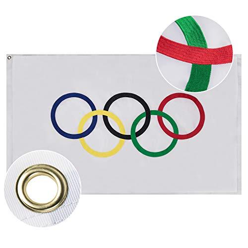 Lixure Olympiaflagge Olympische Flagge/Fahne 90x150cm Top Qualität Durable 210D Nylon Draußen/Drinnen Dekoration Flagge - Nicht billiger Polyester MEHRWEG