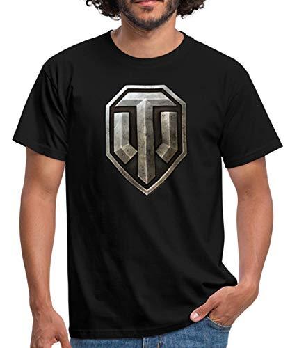 World of Tanks WoT Cooles Logo Metall Männer T-Shirt, XL, Schwarz