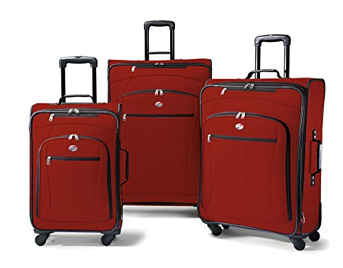 Our red soft side luggage set is full of features, light and padded fabric give this set durability and longevity.