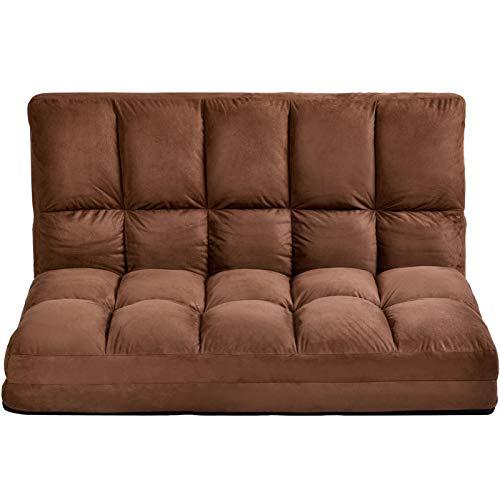 LZZJ Salón Sofá Treble Chaise con Dos Almohadas para Sobreviving Room Floor Sofá y Sofá (Entrega Dentro de 7 días) (Color : Brown)